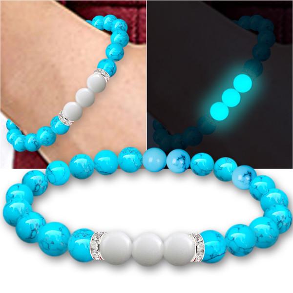 Bracelet Lumineux Noctilucent Éclairage Perles Cristal Nouveauté Magique Nuit Lumière Pierre Naturelle Pour Hommes Femmes Cadeau Manchette Bande de Poignet