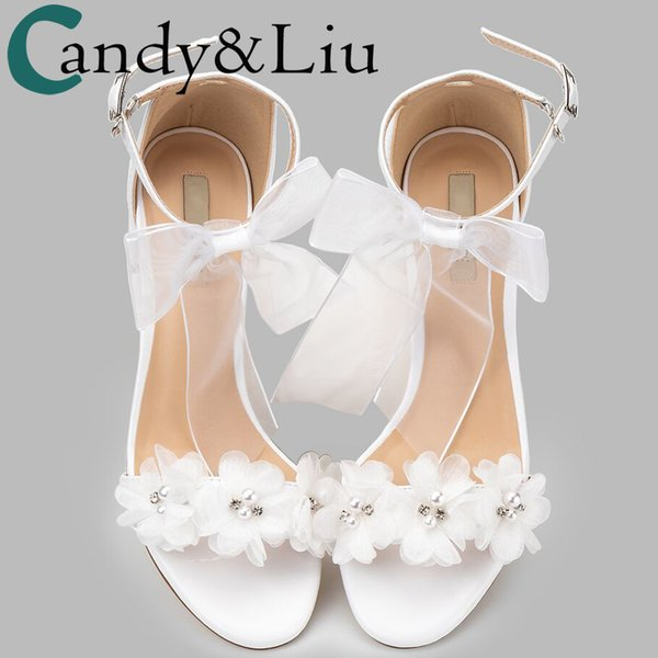 Women Sandals White Wedding Shoes Summer Elegant Lace Bowknot One Word Wristband White Flower Cross with Bare Toe Thick Heel New,Pink 7Cm Heel,36