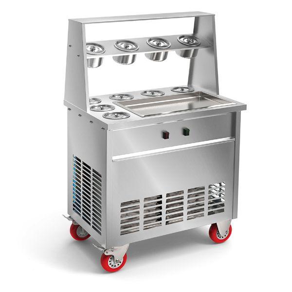 Neue Ankunft große Pfannen Eismaschine braten Eismaschine Eis Pfanne Maschine mit 6 Fässer gebraten