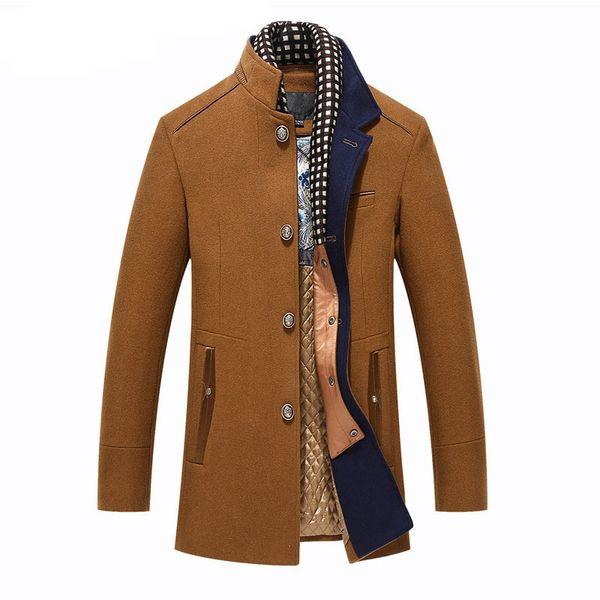 Luxury Thicker Mens Trench Coats Winter Long Wool Trench Coat Men Slim Fit Casual Jackets Peacoat Double Collar Woolen Overcoat