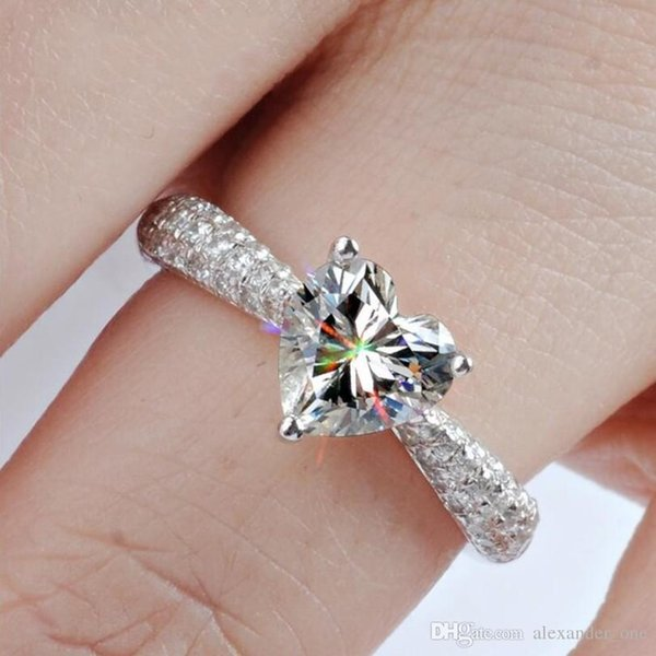 Bride wedding jewelry Really solid 925 Sterling silver ring luxury 2ct heart SONA Diamond Rings Gift for Women Girlfriend Size /6/7/8/9