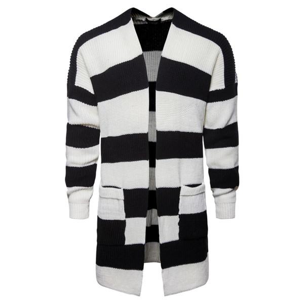 2019 осень и зима Cadigan Мужская коллажах Кардиган куртки мужские Средний Длинный черный и белый полосатый вязаный свитер куртки