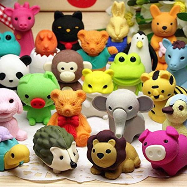 비 독성 연필 지우개, 파티 호의를위한 이동식 조립 동물원 동물 지우개, 재미있는 게임 상, 어린이 퍼즐 장난감