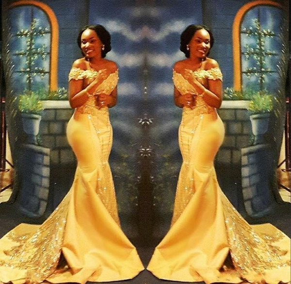 New 2019 Sexy African Mermaid Prom Dresses Off Shoulder Yellow Satin Lace Appliques Crystal Beaded Sexy Arabic Party Evening Gowns Wear