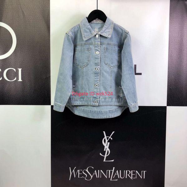 Kız ceket sonbahar moda çocuklar tasarımcı giyim rahat kot ceket ceket geri yıldız örgü tasarım boyutu 110-160 cm