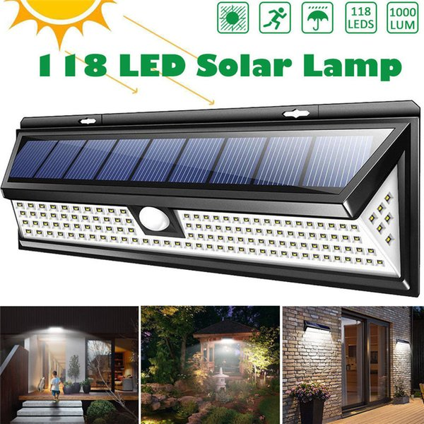 118 LED 1000LM Impermeable PIR Sensor de movimiento Solar Jardín Luz Exterior LED Lámpara solar 3 modos Seguridad Puerta de la piscina Iluminación solar