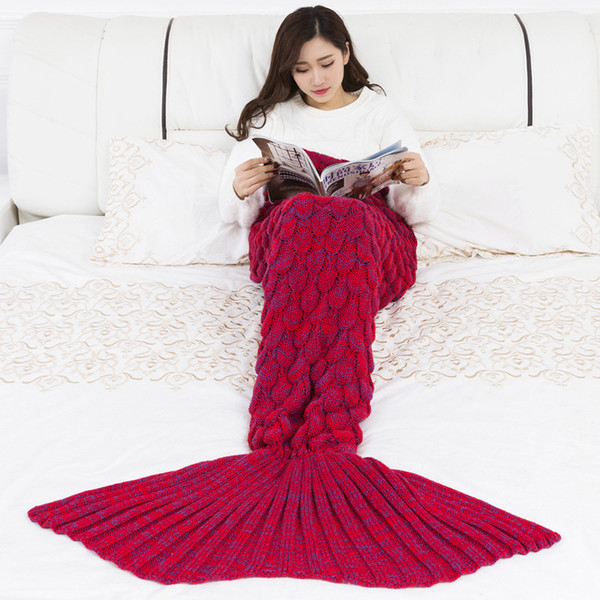 best selling Free postage, the latest mermaid warm fishtail blanket warm and soft hand-woven rug can be wholesale and retail in a variety of colors03
