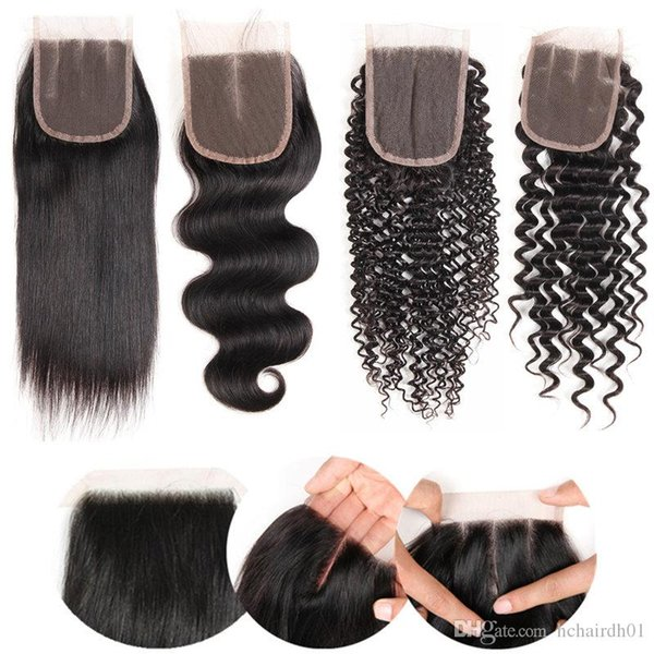 Peruvian Straight Hair 10pc Lace Closure 4X4 Free Middle Three Part Closure Natural Black Color Non-remy Hair 100% Human Hair Wholsale Price