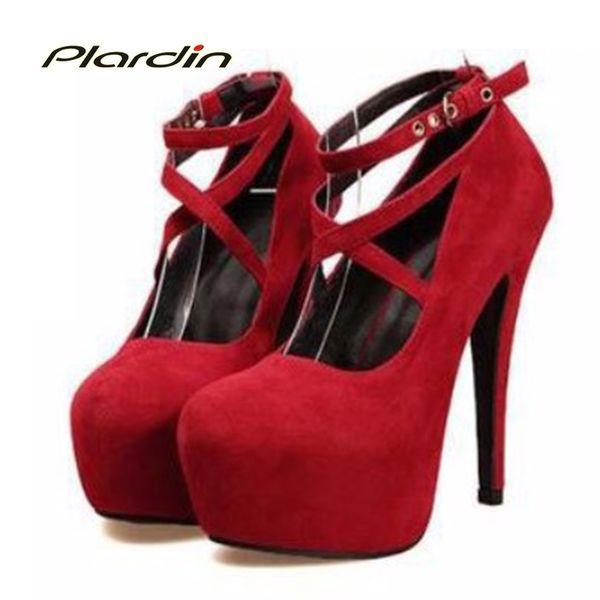 Plardin Shoes Woman Pumps Cross-tied Ankle Strap Wedding Party Shoes Platform Fashion Women Shoes High Heels Suede Ladies