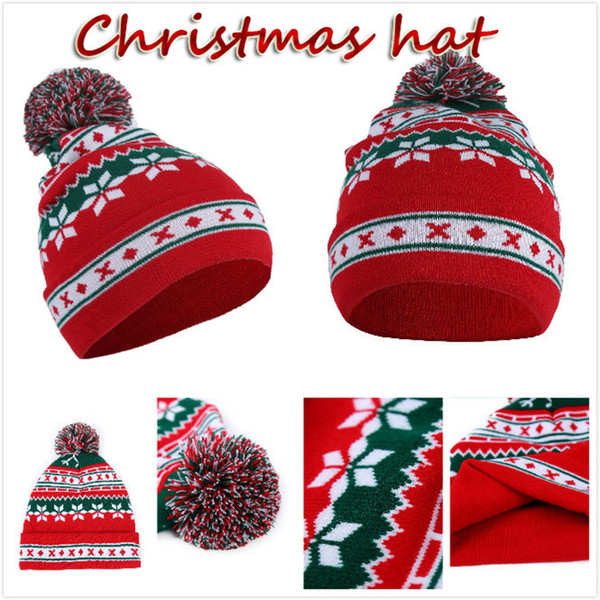 Christmas Cap Snowflake Baggy Beanie Winter Creative Gift Hat For Ski Slouchy Warm Knit Men and Women CNY799