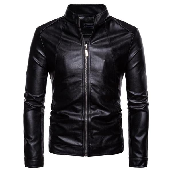 Deri Ceket Erkekler 2018 Sonbahar Rahat Katı Fermuar Motosiklet Ceketler Standı Yaka Siyah Faux Deri Ceket Erkekler Jaket 5XL