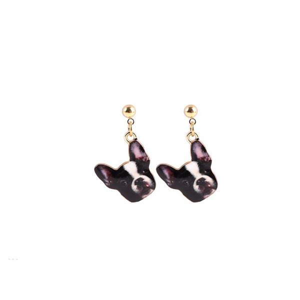 New Fashion Designed Puppy 3d Dog Head Stud Earrings Beautiful Enamel Oil Dog Earrings for Girls Gift jl-423