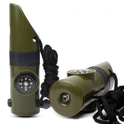 7 en 1 Survie Sifflet Multi-Case Avec DEL Lampe de Poche