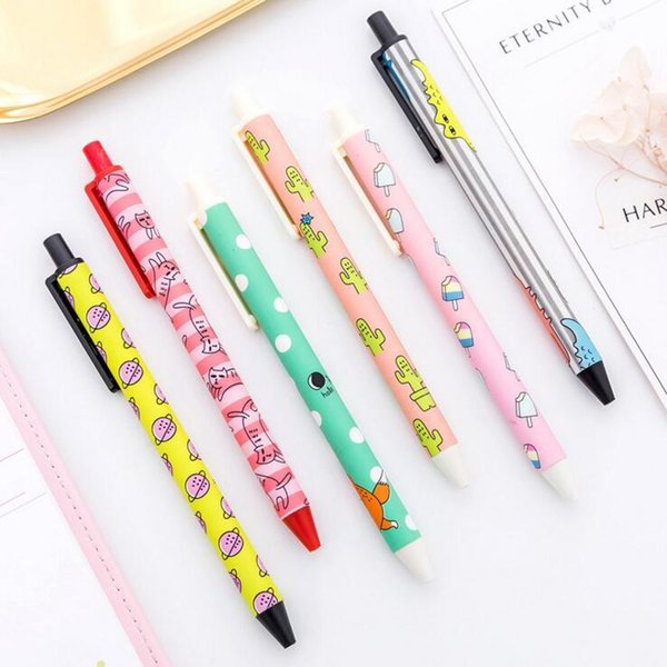 2019 Papelería de 1 pieza Creativo Cute Handles Kawaii Cartoon Pen Gel Bolígrafos escuela cancillería oficina Cactus Supply Cat