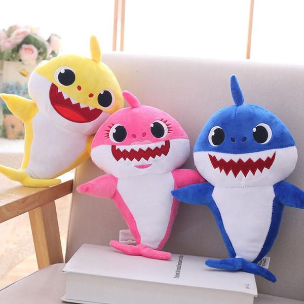 Wholesale 3 Farbe 30cm (11.8inch) Babyhai mit Musik-nettem Tierplüsch-Baby-Haifisch-Puppe mit dem Singen des englischen Liedes + des Lichtes