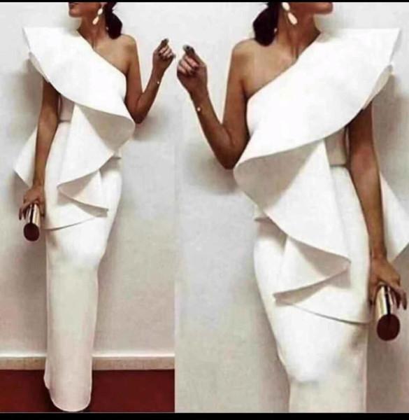 Missord 2019 Sexy One Shoulder Ruffles Female Dresses Solid Color Elegant Party Dress Vestdios Ft18895 T4190613