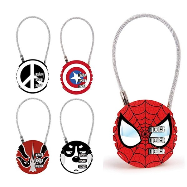 best selling Avengers password lock cartoon padlock round mini metal bag zip bag backpack handbag suitcase drawer lock Home Decor TTA873
