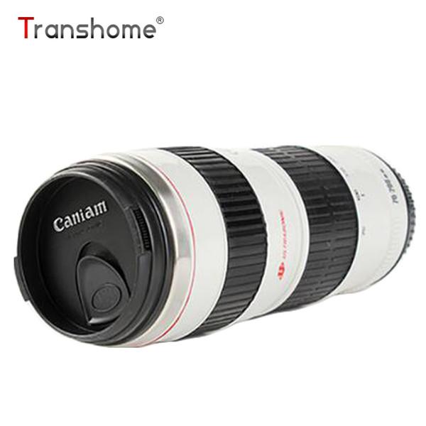 Transhome Camera Lens Mug 450ml Stainless Steel Tumbler Plastic Coffee Tea Creative Cups And Mugs With Lid Travel Vacuum Flasks C18112301