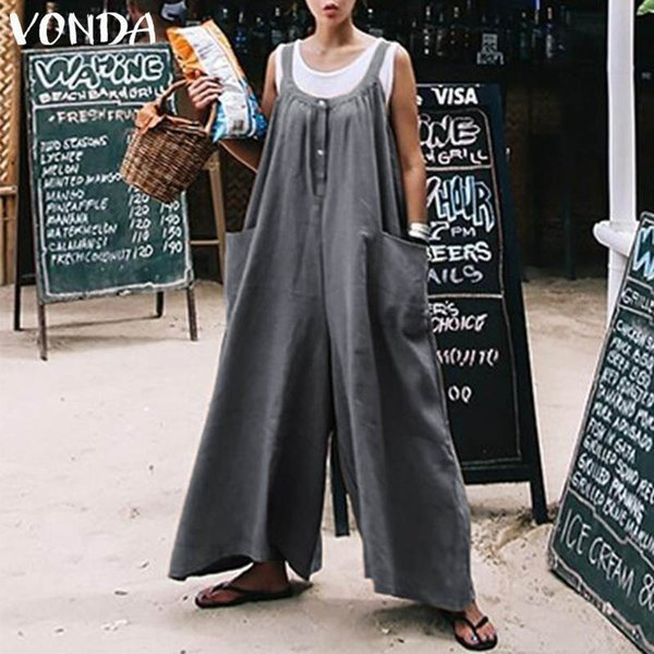Jumpsuits Rompers Womens Jumpsuits Long Pants Sleeveless O-Neck Overalls Playsuit