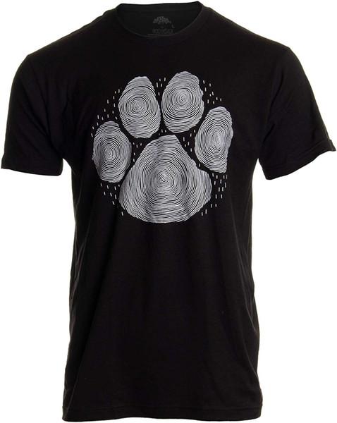 Paw Print Line Art | Artistic Illustration Nature Men Women Dog Cat Cool T-Shirt