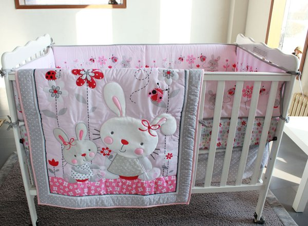 7Pcs Crib bumper set Pink Rabbit home Baby bed set for infant girl Cot bedding set Crib Quilt Bumper Sheet Skirt