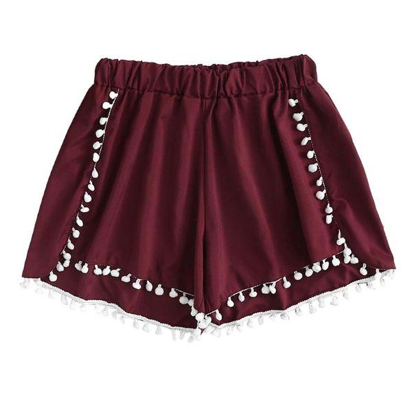 Pantaloncini larghi da donna a vita media in pizzo Pantaloni elastici in vita da donna con risvolto Pantaloni casual di alta qualità