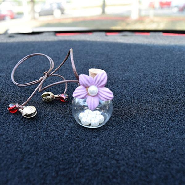 Perfume carro pingente de vidro Hanging garrafa vazia com flor Auto Decoração