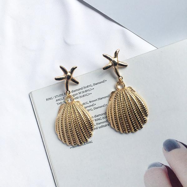 2019 New Fashion Big Starfish Cowrie Shell Orecchini a goccia da donna Orecchini lunghi Dichiarazione Brincos color oro Oorbellen