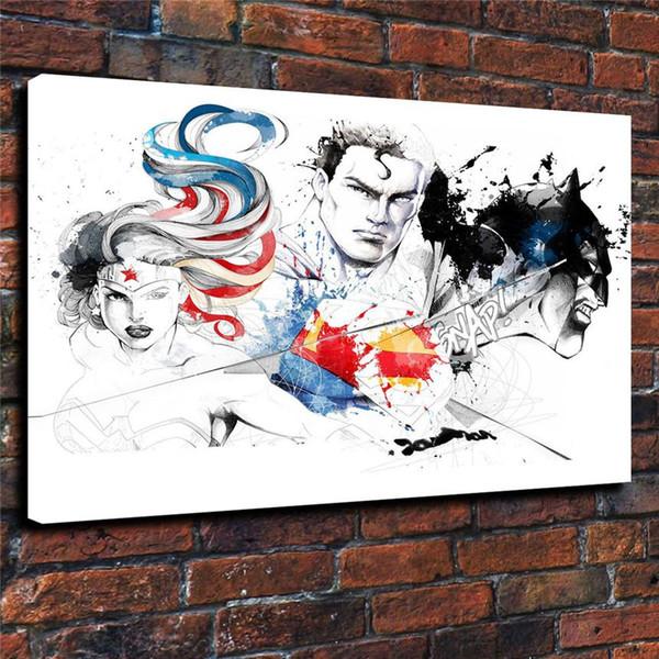 Superman Batman Wonder Woman,1 Pieces Home Decor HD Printed Modern Art Painting on Canvas (Unframed/Framed)