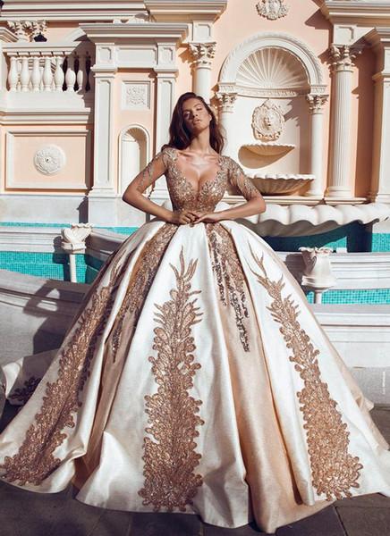 2019 recién llegado de princesa vestidos de quinceañera con cuello en v manga larga de ilusión apliques de oro dulce 16 vestido de lujo vestidos de fiesta largos BC1383