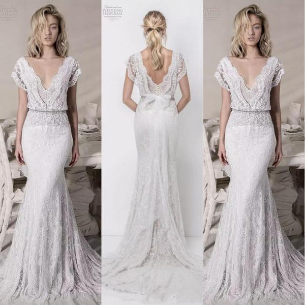 Boho Lace Sheath Wedding Dresses Mermaid Lihi Hod Lace Bridal Gowns Sequined V Neck Bohemian Beach Bridal Dresses Low Back Vestidos de Novia