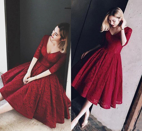 Dark Red Lace Short Prom Dresses With Long Sleeves A-line Tea Length Vintage Bridal Party Dresses Homecoming Dresses