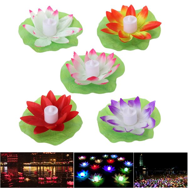 17cm LED Lotus Lamp Colorful Cambiato Floating Water Pool Wishing Light Lamps Lanterne per la decorazione di festival festa di nozze