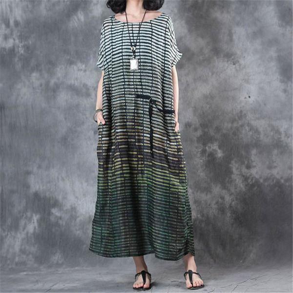 Casual Maxi Dresses For Women 2018 Summer Summer Linen Stripe Loose Plus size Dresses Vintage Pockets Long Elegant dress