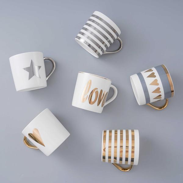 Creative Ceramic Mug Set With Spoon Lid Tea Milk Cup Nordic Style Coffee Mugs Large Capacity 300 Ml Home Kitchen Drinkware Q190525
