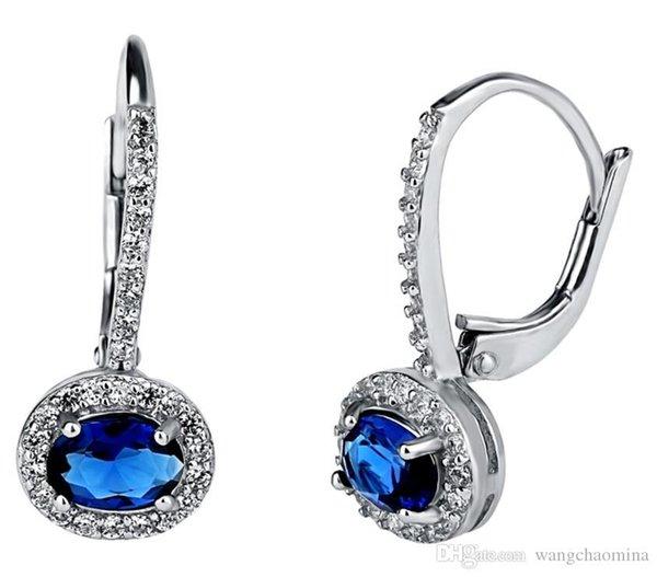 Creolen Luxus Designer Schmuck Damen Ohrringe 3A Zirkonia Clip on Designs Bilder Edelstein blau guter Preis Großhandel Messing Ohr
