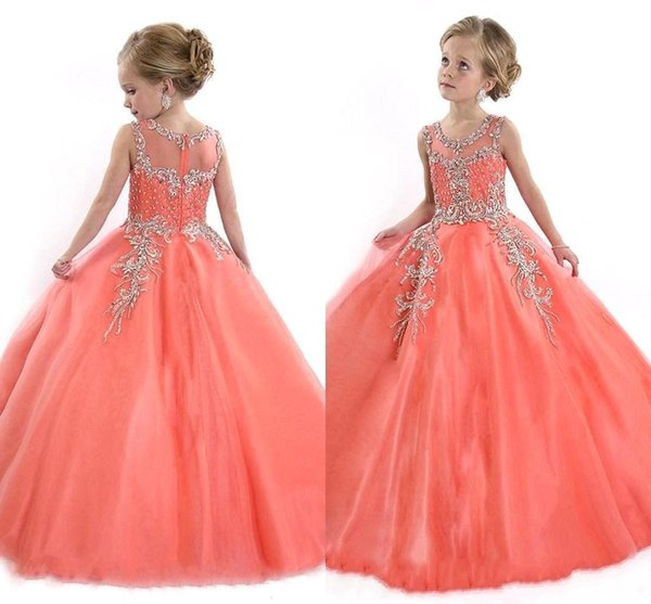 2019 Coral Girls Pageant Dresses Sheer Crew with Beads Rhinestones Rachel Allan Crystal Princess Child Birthday Party Gowns