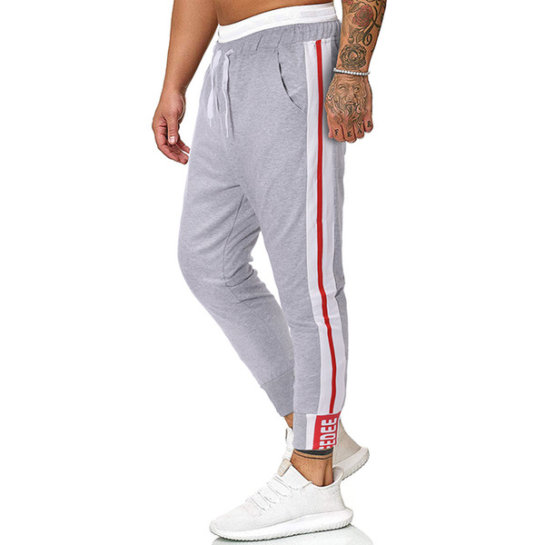 Puimentiua 2019 Pantaloni da uomo Lunghezza intera Casual Tinta unita Giuntura Pantaloni Pantaloni lunghi slim Pantaloni da jogging Streetwear Homme