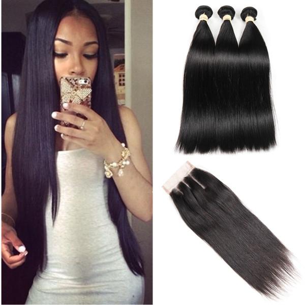 Raw India Human Hair With Lace Closure 3 Bundles Straight Hair with Top Lace Closure Malaysian Peruvian Brazilian Hair Weave Bundles