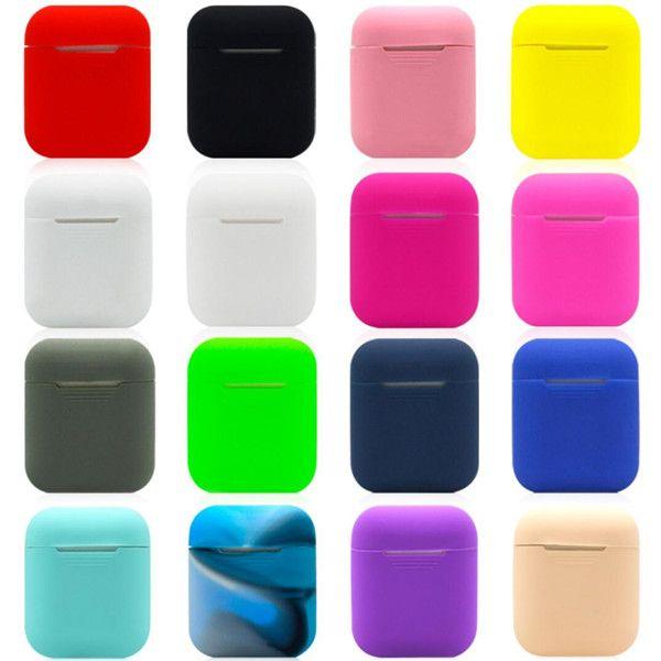 Housse de protection en silicone antichoc pour Apple AirPods True Headset Pochette de protection antichoc avec prise anti-poussière