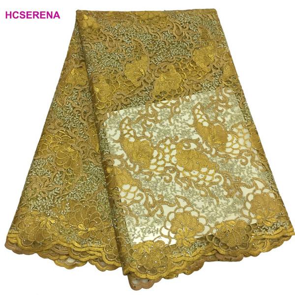 2018 haute qualité africain dentelle tissu jaune français net broderie Pierre Tulle dentelle tissu pour la partie nigérienne Dress.5yards / lot