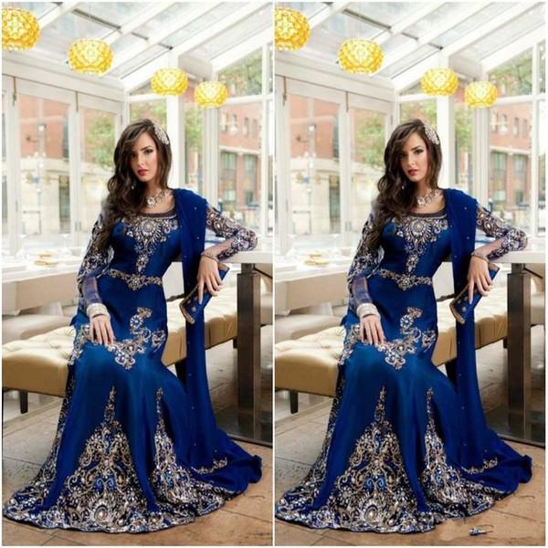 2019 Modest Royal Blue Luxury Crystal musulmán árabe vestidos de noche con apliques de encaje Abaya Dubai Kaftan largo formal vestidos de fiesta de baile