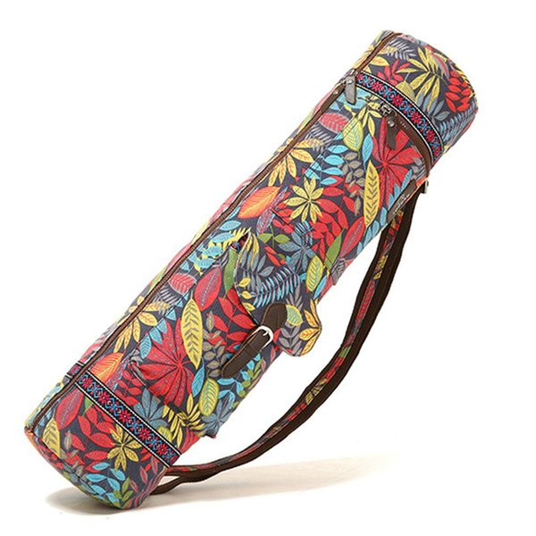 Atacado-Portable Shoulder Gym Carrier Leaves Imprimir Casual Exercise Yoga Mat Bag Case Waterproof Strap ajustável Fitness Practical