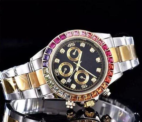 40mm relogio masculino mens orologi moda quadrante nero con calendario staffa pieghevole chiusura maschile regalo maschile orologi da uomo