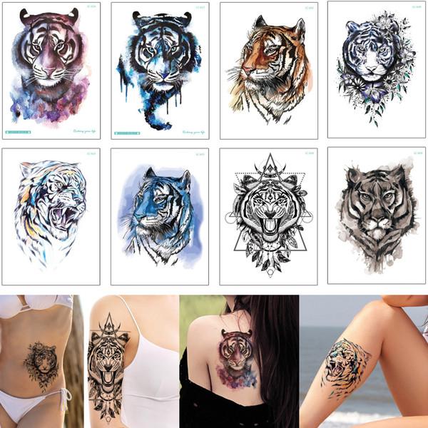 Fake Tiger Temporary Tattoo Dreamcatcher Black Fashion Waterproof Body Art Arm Leg Back Designs for Woman Man Colored Drawing Tattoo Sticker