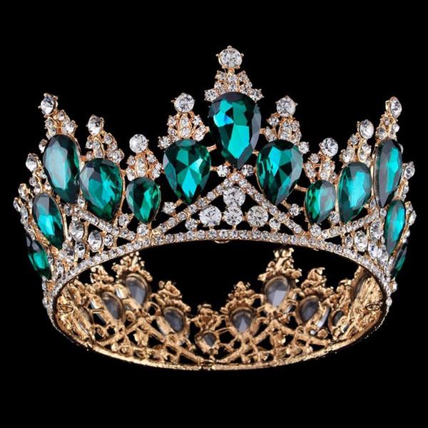 Barroco Reina Rey novia Tiara Corona para las mujeres Gran Coronas Prom diadema pelo de las mujeres joyería y accesorios de pelo Adornos boda