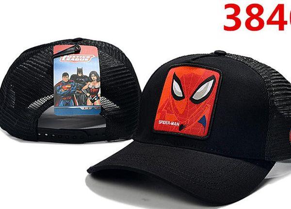 Heißer verkauf männer frauen designer sommer viele stil erwachsene cartoon snapback mesh superman batman spider-man baseballmütze