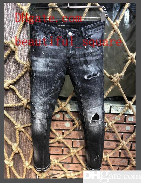 Горячие дизайнерские джинсы D2 мужчины Марка Модный бренд мужская одежда Джинсовые джинсы с вымытым отверстием D2 Роскошная микробомба Тонкие брюки Человек Ковбой Свободные брюки
