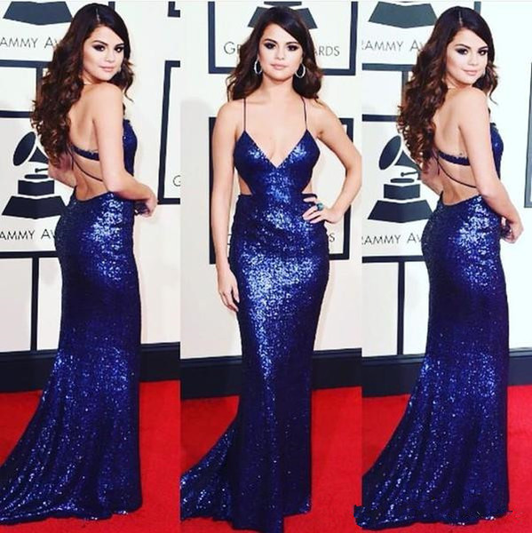 selena gomez mermaid prom dresses Sexy Sparkly plugging Open Waist Formal Red Carpet Sequins Evening Gowns Elegant Backless Oscar plus Size