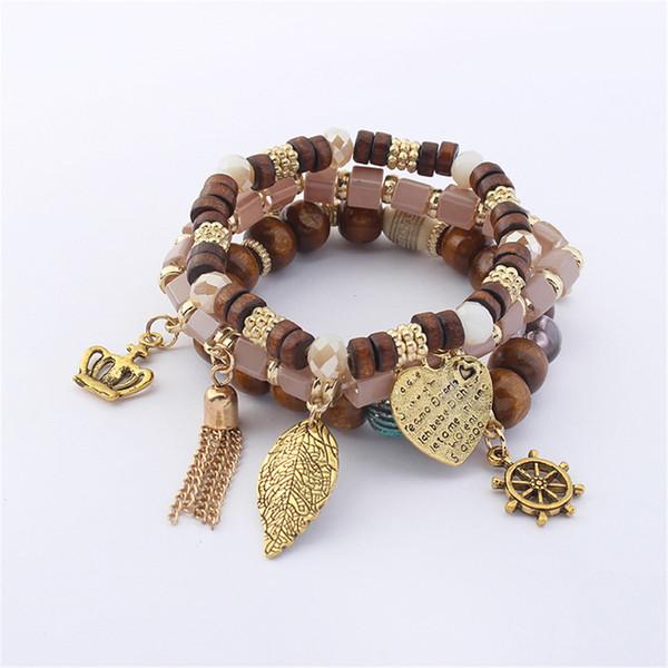 Las mujeres de madera, completa perlas pulseras hoja del corazón para la joyería de los brazaletes Marca Moda Vintage Corea moda